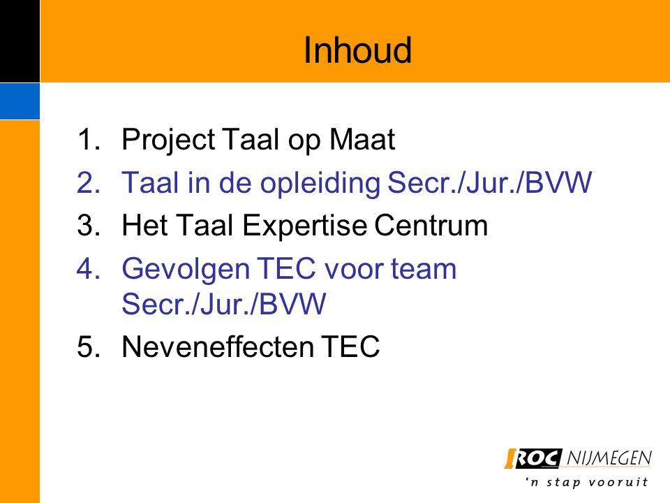 Inhoud 1.Project Taal op Maat 2.Taal in de opleiding Secr./Jur./BVW 3.Het Taal Expertise Centrum 4.Gevolgen TEC voor team Secr./Jur./BVW 5.Neveneffect