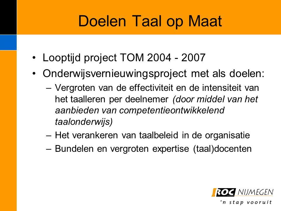 Doelen Taal op Maat Looptijd project TOM 2004 - 2007 Onderwijsvernieuwingsproject met als doelen: –Vergroten van de effectiviteit en de intensiteit va