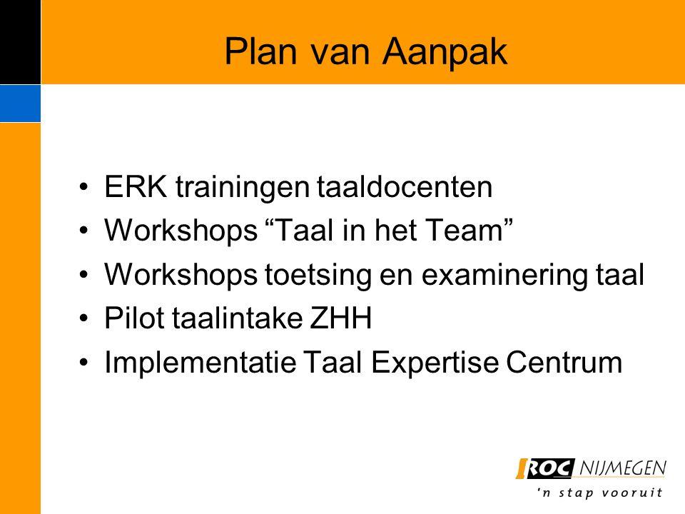 """Plan van Aanpak ERK trainingen taaldocenten Workshops """"Taal in het Team"""" Workshops toetsing en examinering taal Pilot taalintake ZHH Implementatie Taa"""