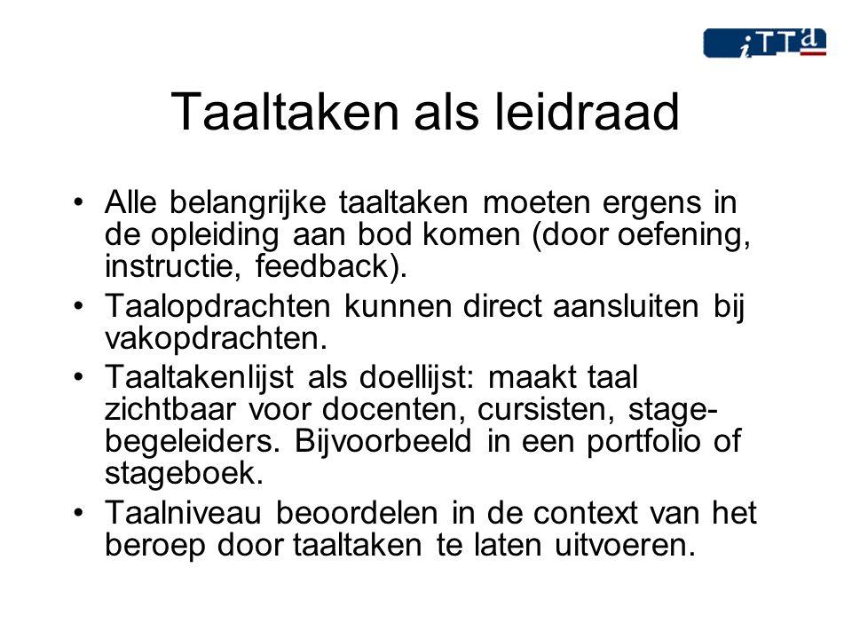 Taaltaken als leidraad Alle belangrijke taaltaken moeten ergens in de opleiding aan bod komen (door oefening, instructie, feedback). Taalopdrachten ku