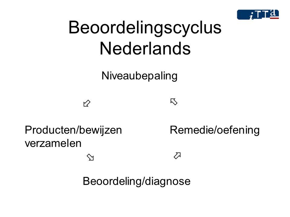 Beoordelingscyclus Nederlands Niveaubepaling   Producten/bewijzen Remedie/oefening verzamelen   Beoordeling/diagnose