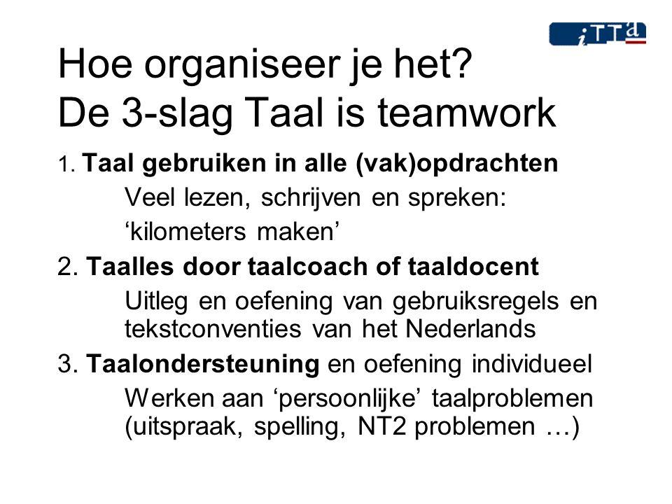Hoe organiseer je het? De 3-slag Taal is teamwork 1. Taal gebruiken in alle (vak)opdrachten Veel lezen, schrijven en spreken: 'kilometers maken' 2. Ta