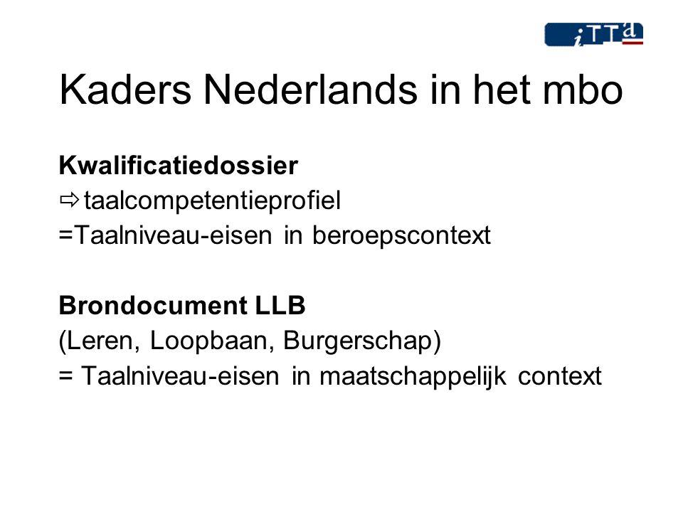 Kaders Nederlands in het mbo Kwalificatiedossier  taalcompetentieprofiel =Taalniveau-eisen in beroepscontext Brondocument LLB (Leren, Loopbaan, Burge
