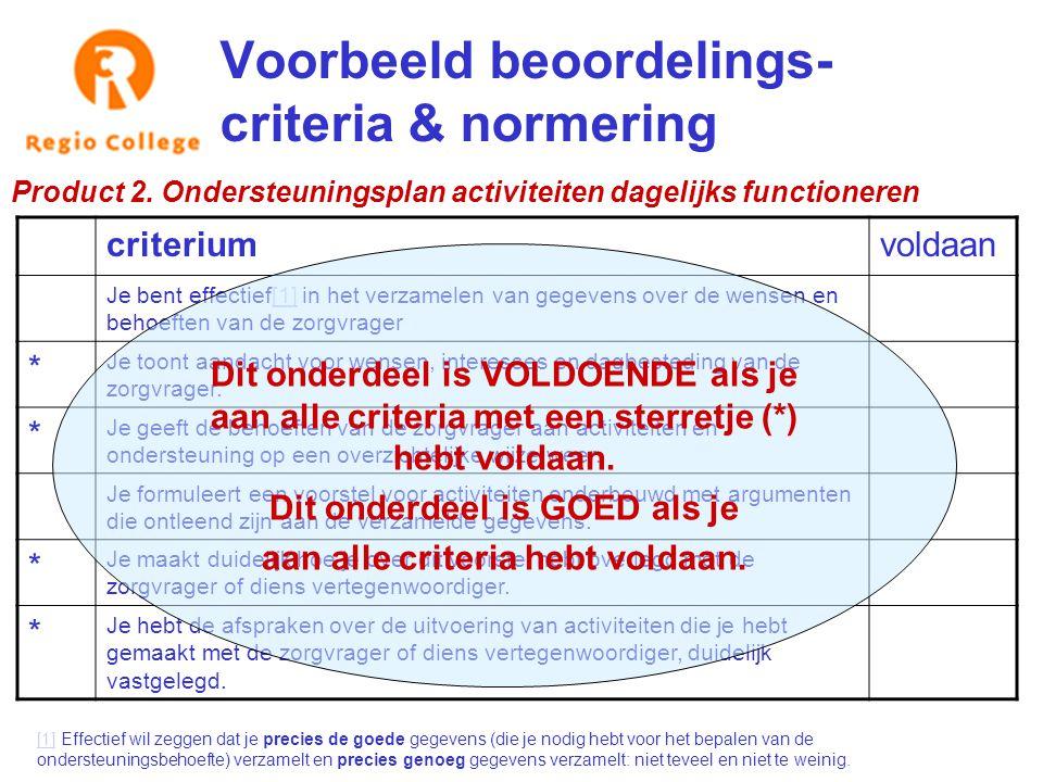 Voorbeeld beoordelings- criteria & normering Product 2. Ondersteuningsplan activiteiten dagelijks functioneren criteriumvoldaan Je bent effectief[1] i