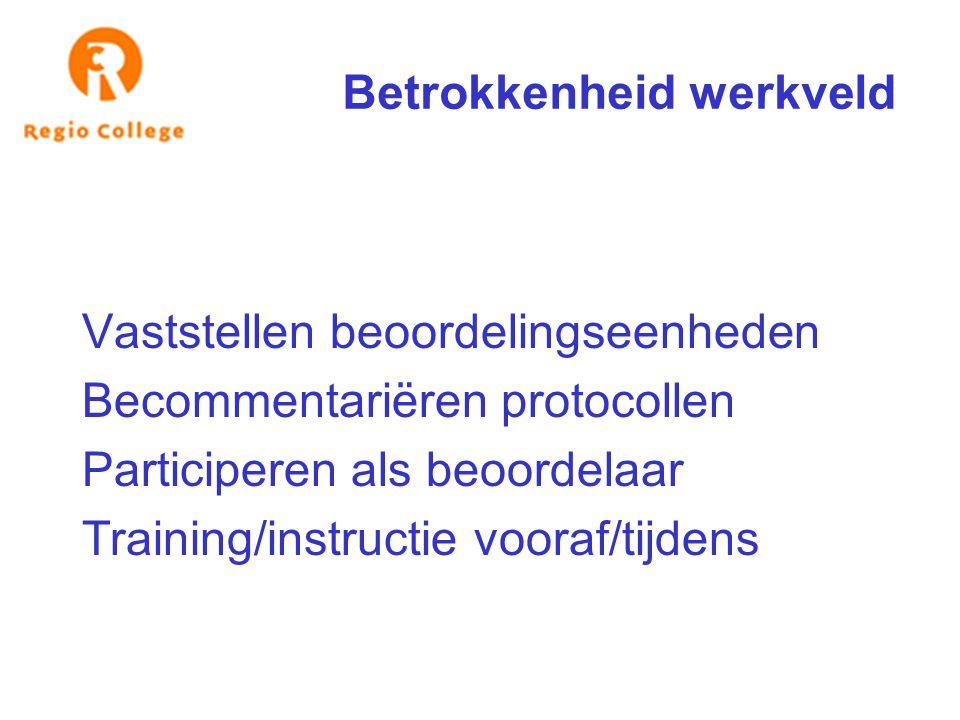 Betrokkenheid werkveld Vaststellen beoordelingseenheden Becommentariëren protocollen Participeren als beoordelaar Training/instructie vooraf/tijdens
