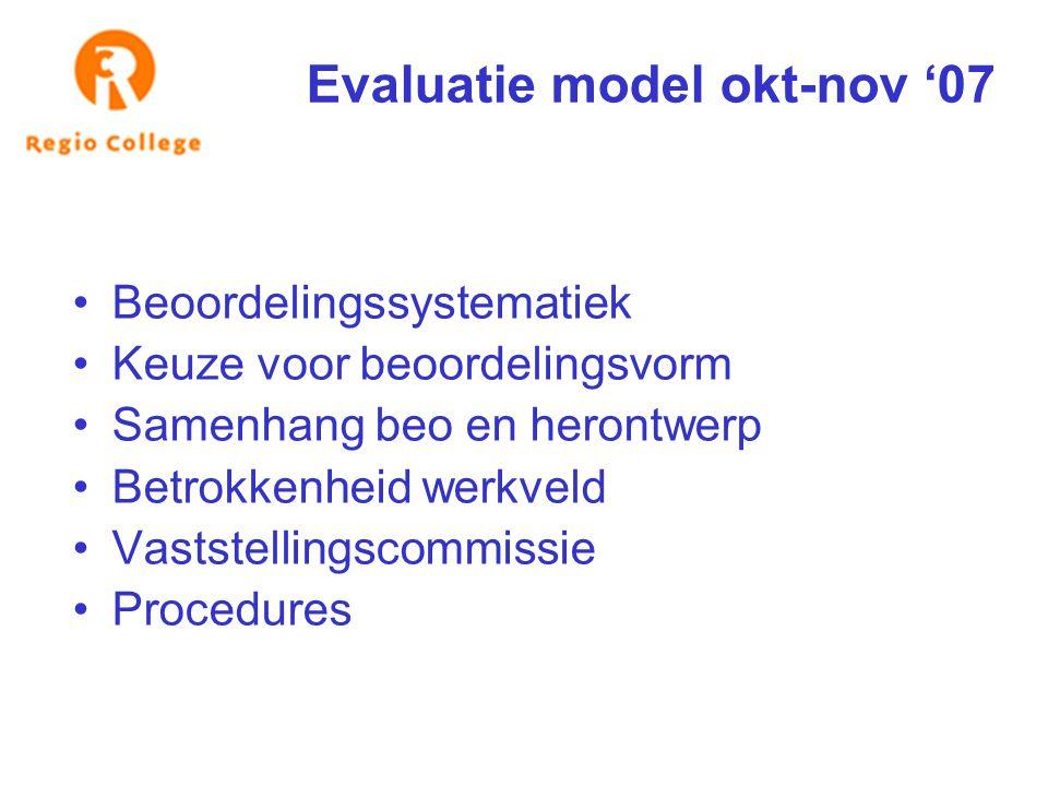 Evaluatie model okt-nov '07 Beoordelingssystematiek Keuze voor beoordelingsvorm Samenhang beo en herontwerp Betrokkenheid werkveld Vaststellingscommis