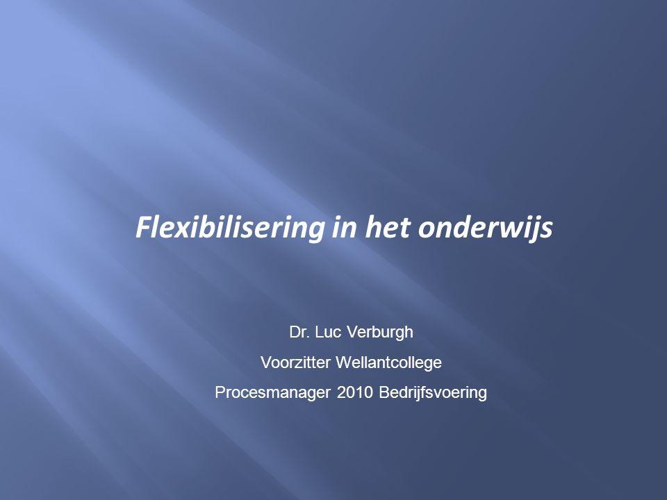 Flexibilisering in het onderwijs Dr. Luc Verburgh Voorzitter Wellantcollege Procesmanager 2010 Bedrijfsvoering
