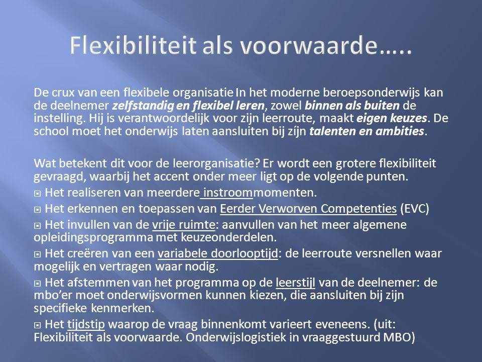 De crux van een flexibele organisatie In het moderne beroepsonderwijs kan de deelnemer zelfstandig en flexibel leren, zowel binnen als buiten de inste