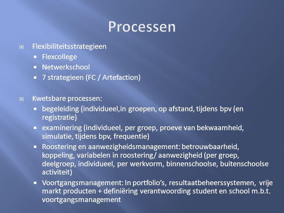  Flexibiliteitsstrategieen  Flexcollege  Netwerkschool  7 strategieen (FC / Artefaction)  Kwetsbare processen:  begeleiding (individueel,in groe