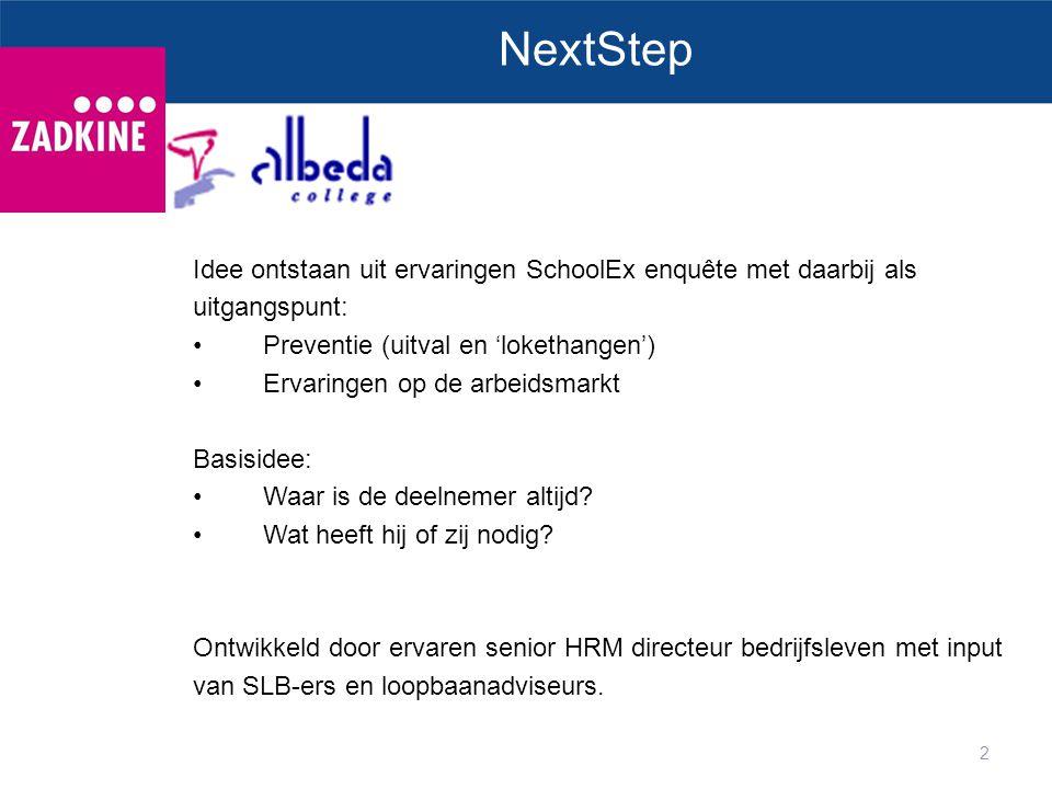 2 NextStep Idee ontstaan uit ervaringen SchoolEx enquête met daarbij als uitgangspunt: Preventie (uitval en 'lokethangen') Ervaringen op de arbeidsmar