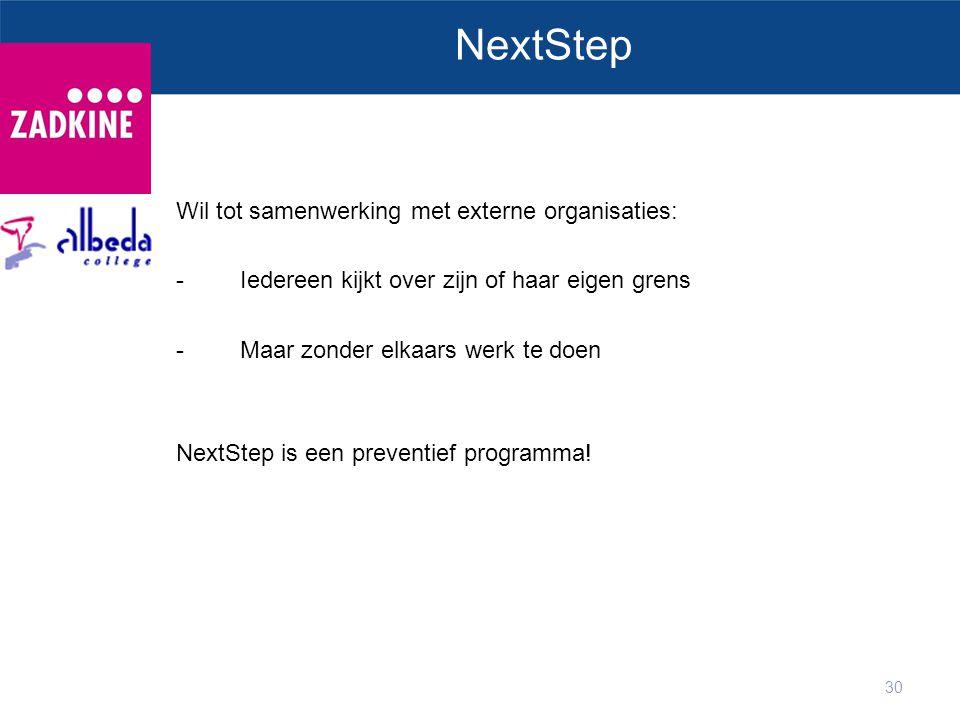 30 NextStep Wil tot samenwerking met externe organisaties: -Iedereen kijkt over zijn of haar eigen grens -Maar zonder elkaars werk te doen NextStep is