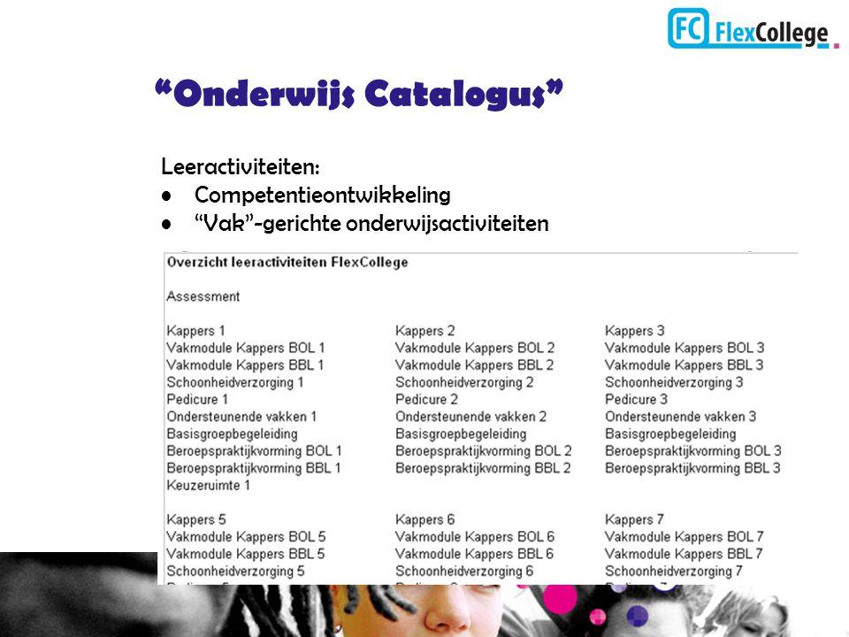 """""""Onderwijs Catalogus"""" Leeractiviteiten: Competentieontwikkeling """"Vak""""-gerichte onderwijsactiviteiten"""