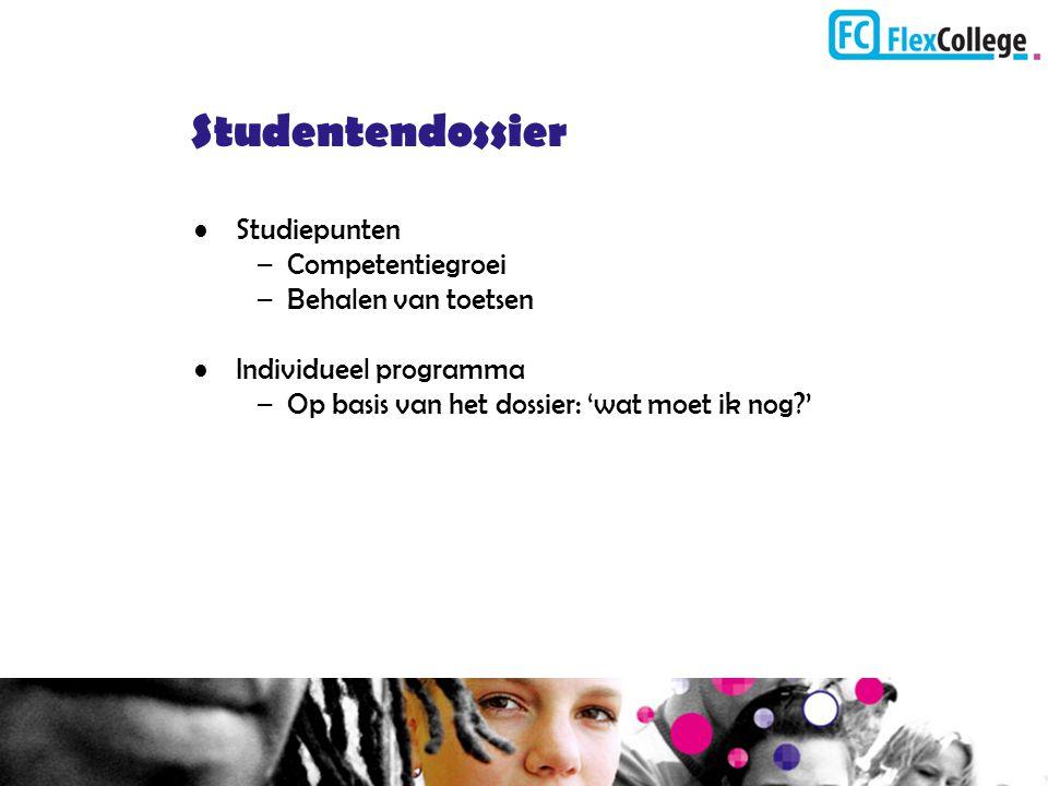 Studentendossier Studiepunten –Competentiegroei –Behalen van toetsen Individueel programma –Op basis van het dossier: 'wat moet ik nog?'