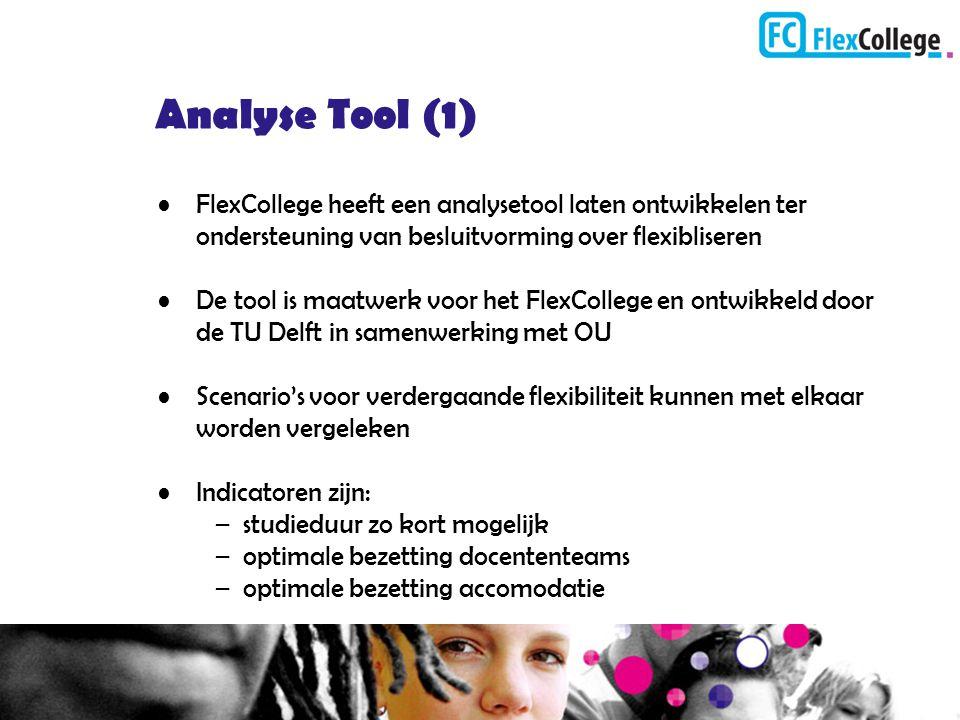 Analyse Tool (1) FlexCollege heeft een analysetool laten ontwikkelen ter ondersteuning van besluitvorming over flexibliseren De tool is maatwerk voor