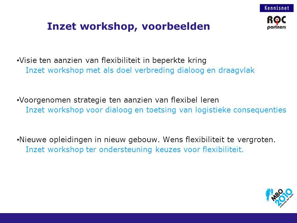 Inzet workshop, voorbeelden Visie ten aanzien van flexibiliteit in beperkte kring Inzet workshop met als doel verbreding dialoog en draagvlak Voorgeno