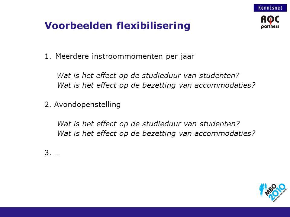 1.Meerdere instroommomenten per jaar Wat is het effect op de studieduur van studenten? Wat is het effect op de bezetting van accommodaties? 2. Avondop