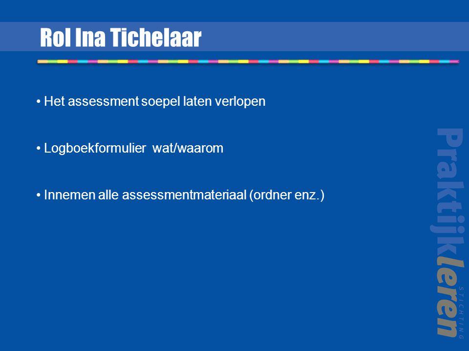 Het assessment soepel laten verlopen Logboekformulier wat/waarom Innemen alle assessmentmateriaal (ordner enz.) Rol Ina Tichelaar