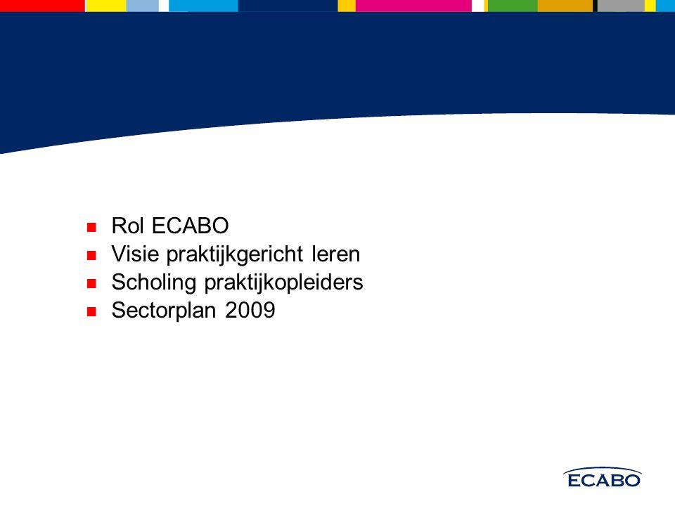 Rol ECABO Visie praktijkgericht leren Scholing praktijkopleiders Sectorplan 2009
