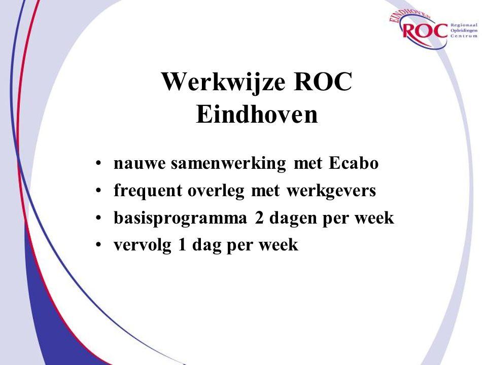 Werkwijze ROC Eindhoven nauwe samenwerking met Ecabo frequent overleg met werkgevers basisprogramma 2 dagen per week vervolg 1 dag per week