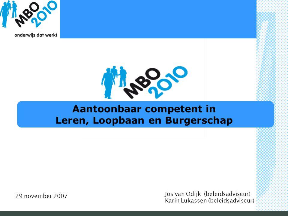 Aantoonbaar competent in Leren, Loopbaan en Burgerschap Jos van Odijk (beleidsadviseur) Karin Lukassen (beleidsadviseur) 29 november 2007