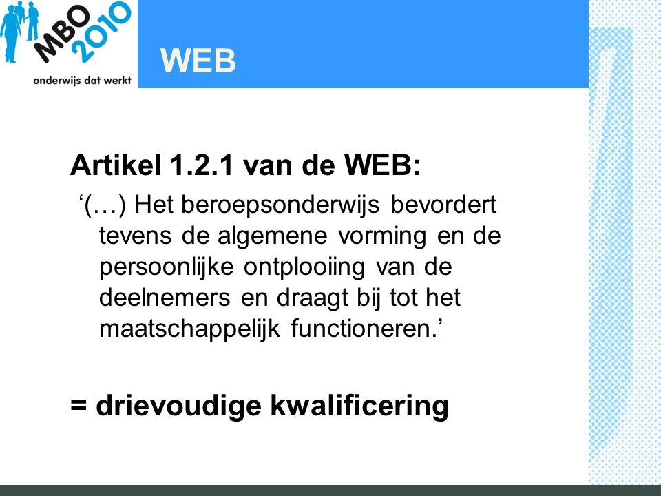 WEB Artikel 1.2.1 van de WEB: '(…) Het beroepsonderwijs bevordert tevens de algemene vorming en de persoonlijke ontplooiing van de deelnemers en draagt bij tot het maatschappelijk functioneren.' = drievoudige kwalificering