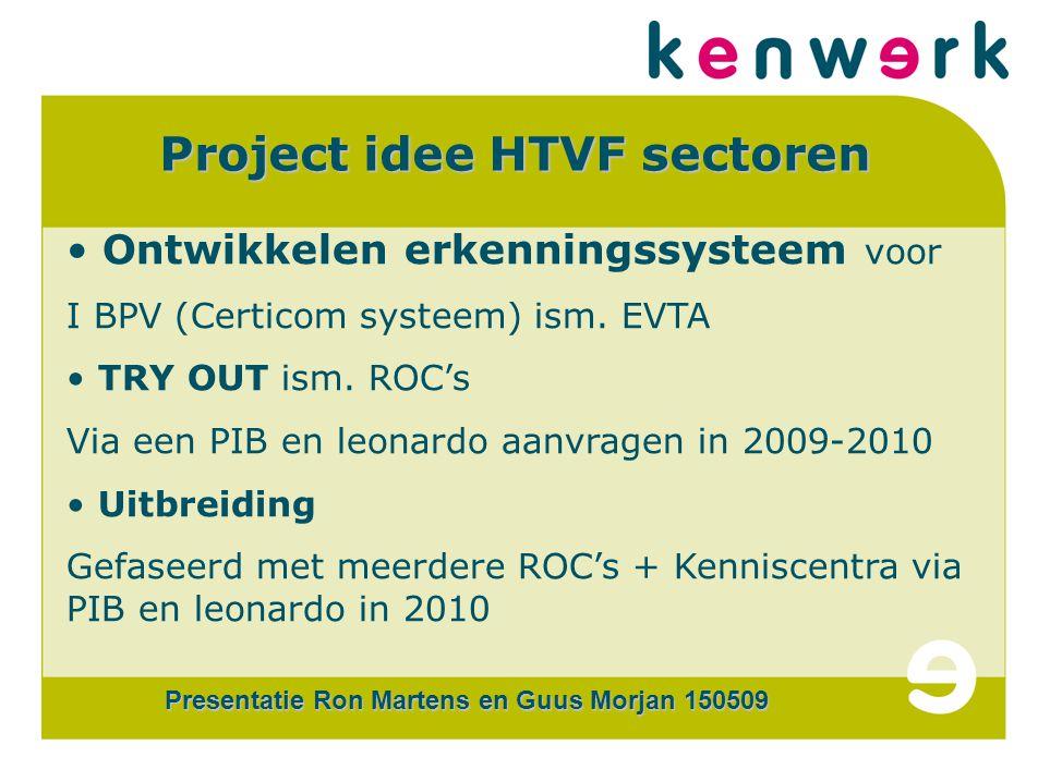CERTi COM Project idee HTVF sectoren Ontwikkelen erkenningssysteem voor I BPV (Certicom systeem) ism.