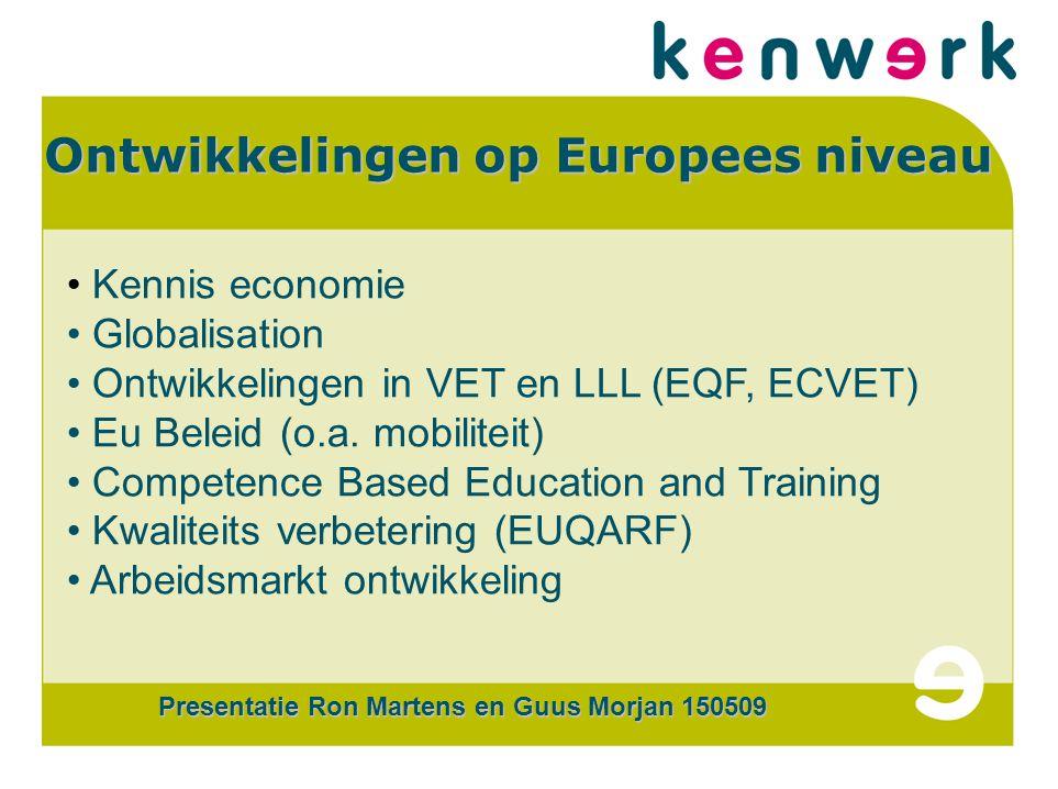 CERTi COM Ontwikkelingen op Europees niveau Kennis economie Globalisation Ontwikkelingen in VET en LLL (EQF, ECVET) Eu Beleid (o.a.