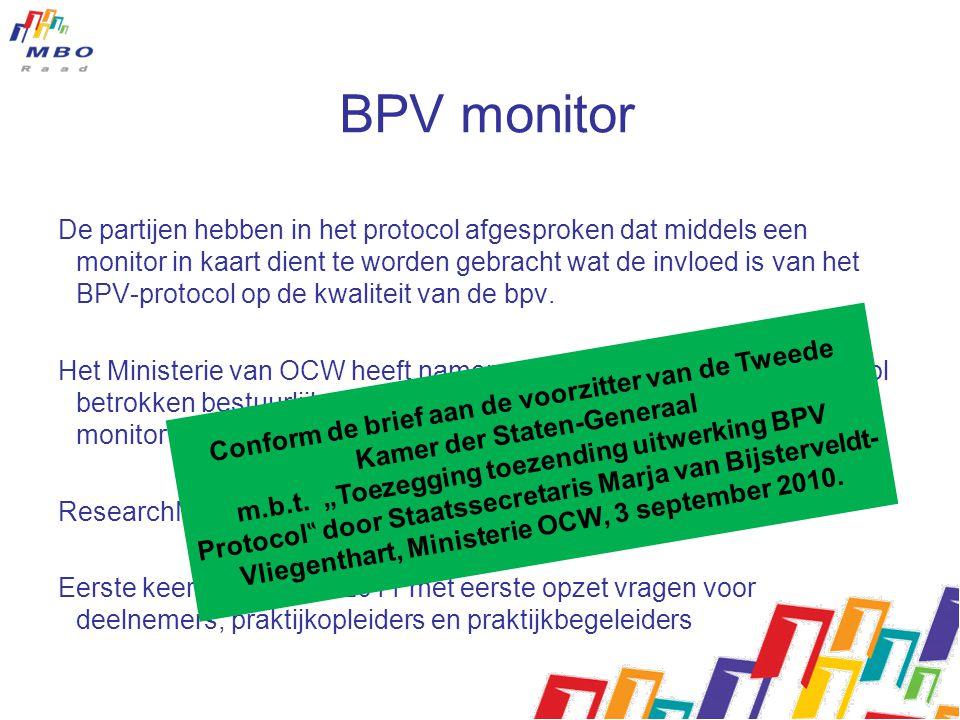 BPV monitor De partijen hebben in het protocol afgesproken dat middels een monitor in kaart dient te worden gebracht wat de invloed is van het BPV-protocol op de kwaliteit van de bpv.