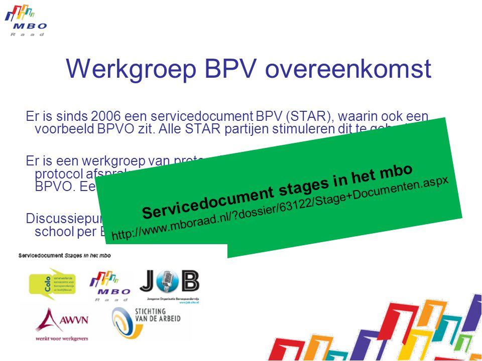 Werkgroep BPV overeenkomst Er is sinds 2006 een servicedocument BPV (STAR), waarin ook een voorbeeld BPVO zit.