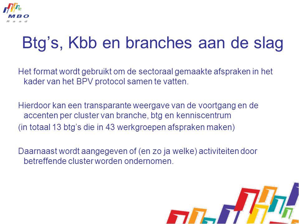 Btg's, Kbb en branches aan de slag Het format wordt gebruikt om de sectoraal gemaakte afspraken in het kader van het BPV protocol samen te vatten.