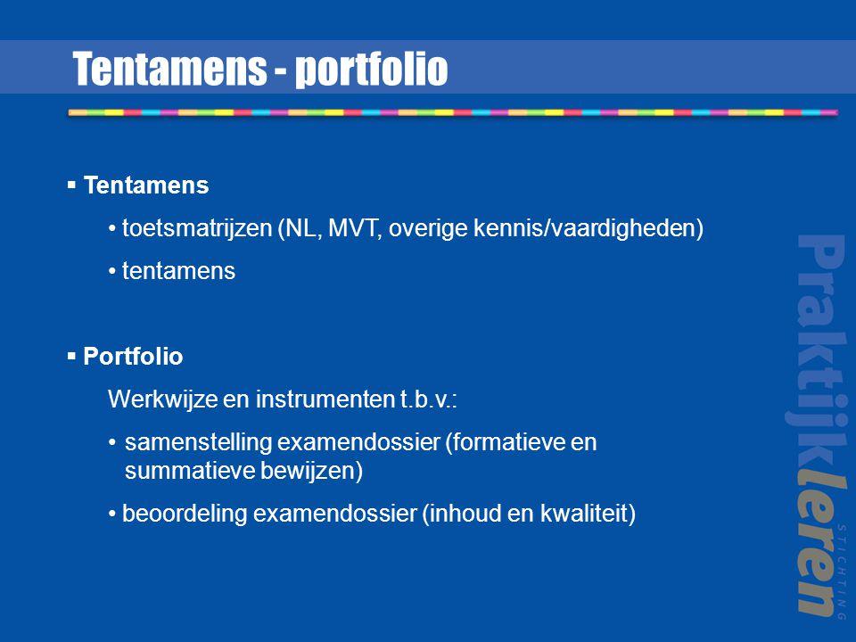  Tentamens toetsmatrijzen (NL, MVT, overige kennis/vaardigheden) tentamens  Portfolio Werkwijze en instrumenten t.b.v.: samenstelling examendossier