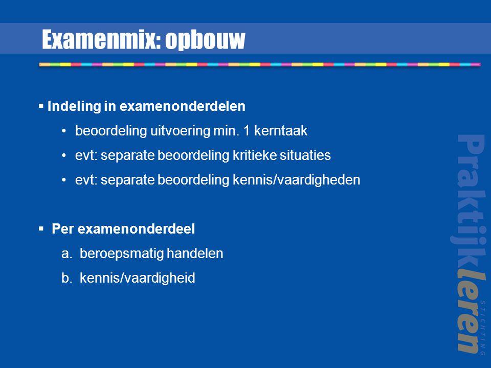 Indeling in examenonderdelen beoordeling uitvoering min. 1 kerntaak evt: separate beoordeling kritieke situaties evt: separate beoordeling kennis/va