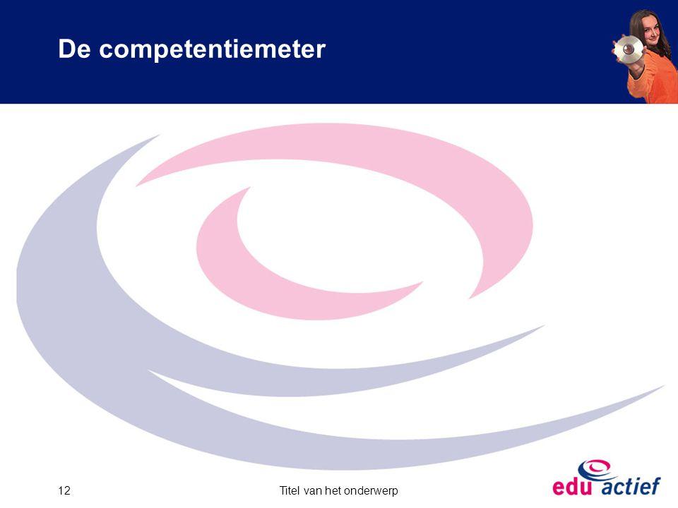 De competentiemeter Titel van het onderwerp12