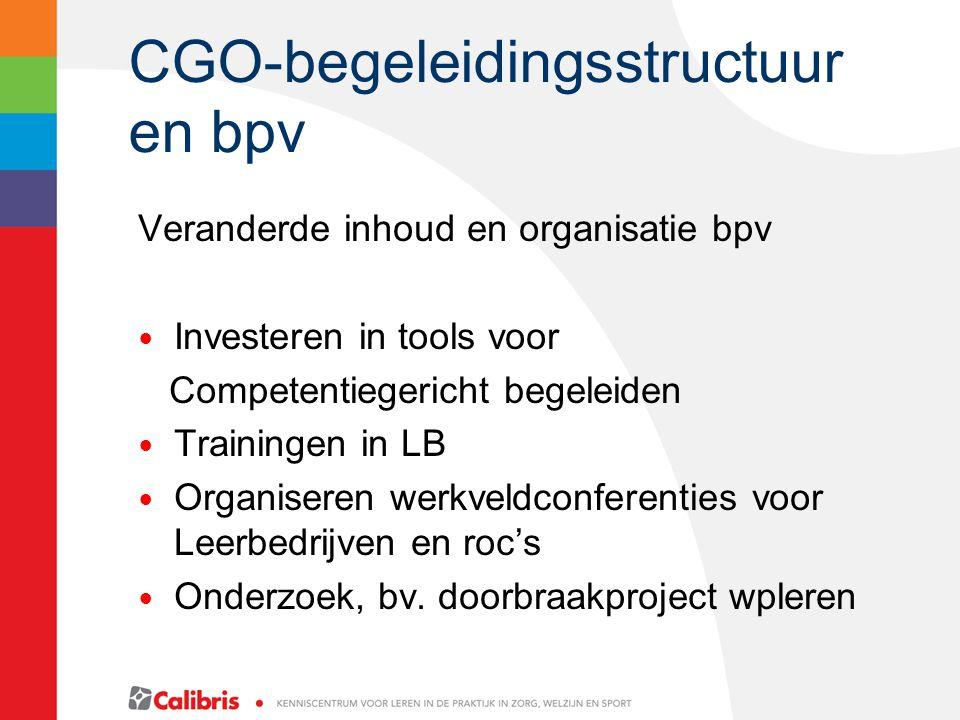 CGO-begeleidingsstructuur en bpv Veranderde inhoud en organisatie bpv Investeren in tools voor Competentiegericht begeleiden Trainingen in LB Organiseren werkveldconferenties voor Leerbedrijven en roc's Onderzoek, bv.