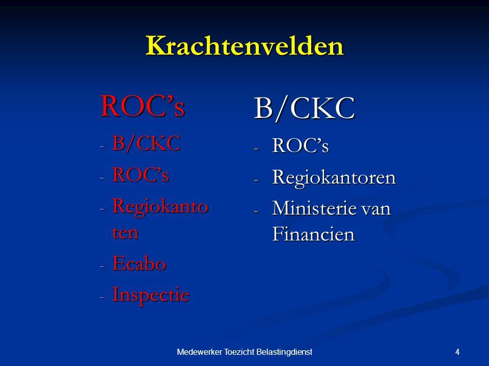 4Medewerker Toezicht Belastingdienst Krachtenvelden ROC's - B/CKC - ROC's - Regiokanto ten - Ecabo - Inspectie B/CKC - ROC's - Regiokantoren - Ministerie van Financien