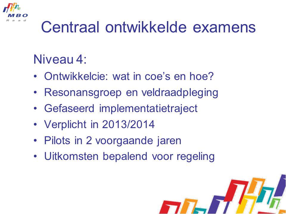 Centraal ontwikkelde examens Niveau 4: Ontwikkelcie: wat in coe's en hoe? Resonansgroep en veldraadpleging Gefaseerd implementatietraject Verplicht in