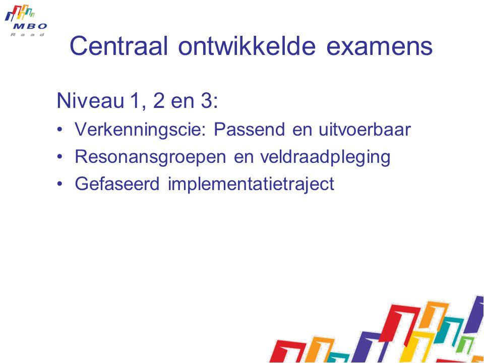 Centraal ontwikkelde examens Niveau 1, 2 en 3: Verkenningscie: Passend en uitvoerbaar Resonansgroepen en veldraadpleging Gefaseerd implementatietrajec