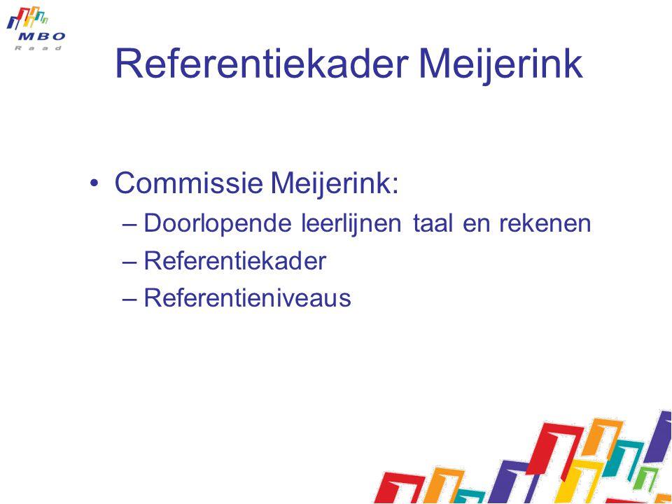 Referentiekader Meijerink Commissie Meijerink: –Doorlopende leerlijnen taal en rekenen –Referentiekader –Referentieniveaus