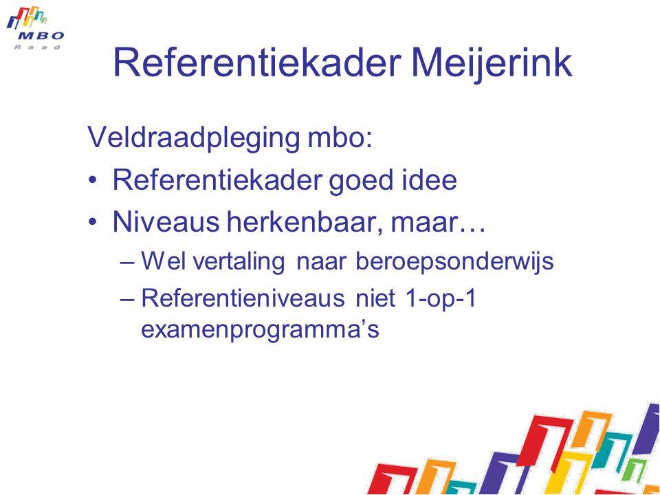 Referentiekader Meijerink Veldraadpleging mbo: Referentiekader goed idee Niveaus herkenbaar, maar… –Wel vertaling naar beroepsonderwijs –Referentieniv