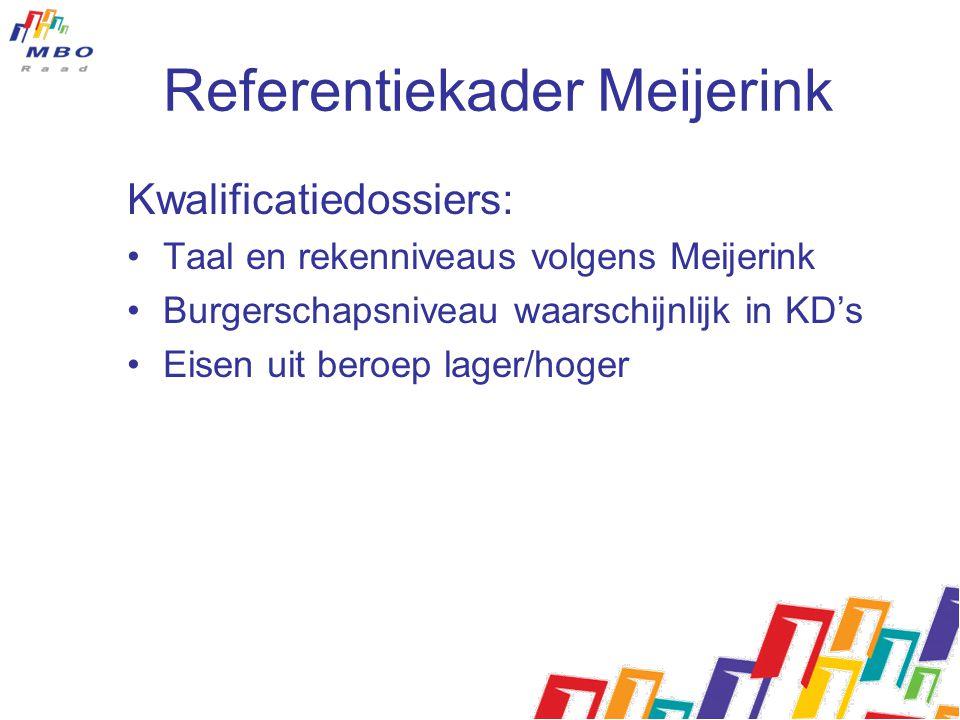 Referentiekader Meijerink Kwalificatiedossiers: Taal en rekenniveaus volgens Meijerink Burgerschapsniveau waarschijnlijk in KD's Eisen uit beroep lage