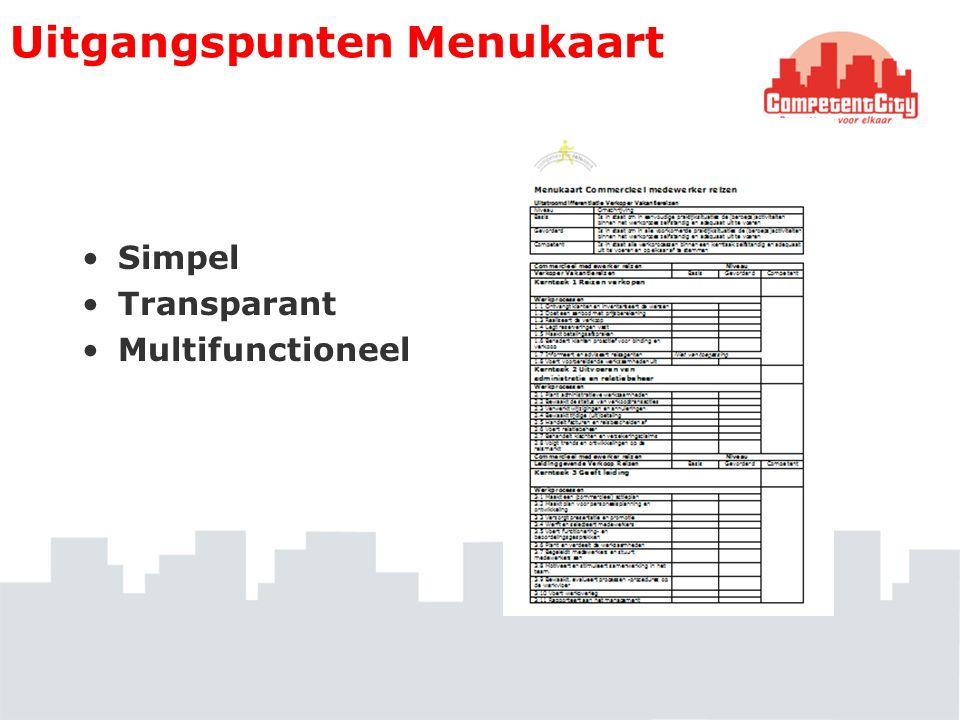 Uitgangspunten Menukaart Simpel Transparant Multifunctioneel