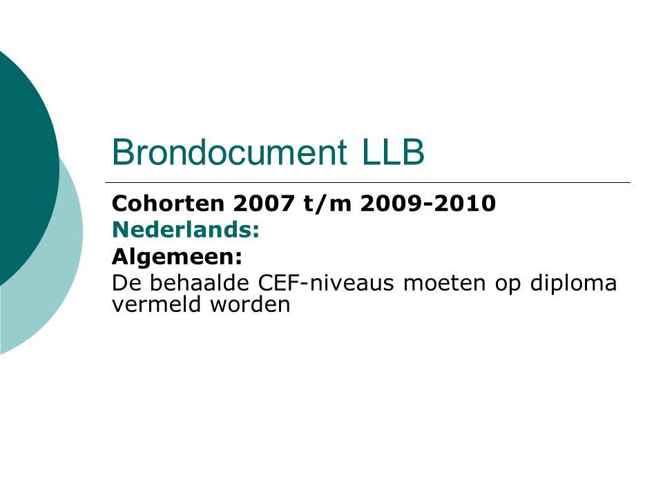 Brondocument LLB Cohorten 2007 t/m 2009-2010 MVT: Niet in brondocument, wel in KD indien het beroep hier om vraagt.