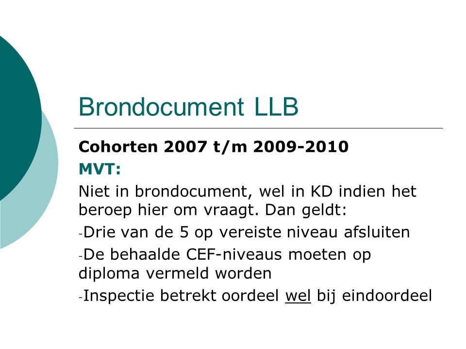 Brondocument LLB Cohorten 2007 t/m 2009-2010 MVT: Niet in brondocument, wel in KD indien het beroep hier om vraagt. Dan geldt: - Drie van de 5 op vere
