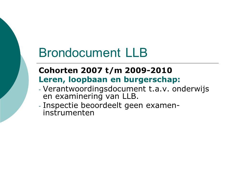 Brondocument LLB Cohorten 2007 t/m 2009-2010 Leren, loopbaan en burgerschap: - Verantwoordingsdocument t.a.v. onderwijs en examinering van LLB. - Insp
