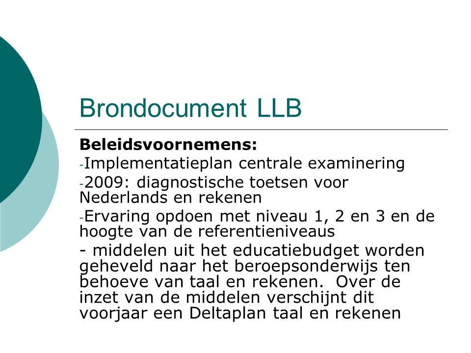 Brondocument LLB Beleidsvoornemens: - Implementatieplan centrale examinering - 2009: diagnostische toetsen voor Nederlands en rekenen - Ervaring opdoe