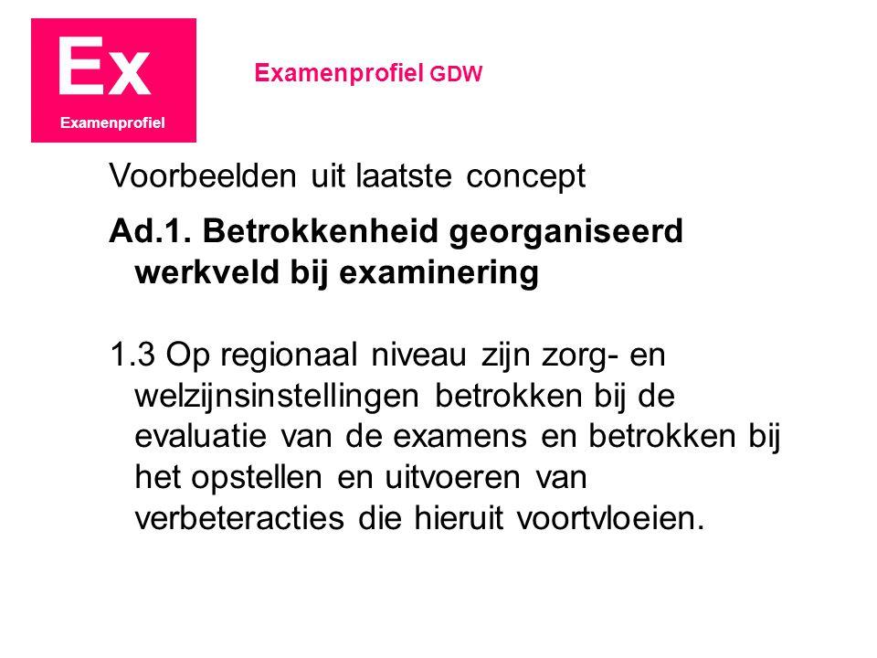 Ex Examenprofiel Ad.1. Betrokkenheid georganiseerd werkveld bij examinering 1.3 Op regionaal niveau zijn zorg- en welzijnsinstellingen betrokken bij d