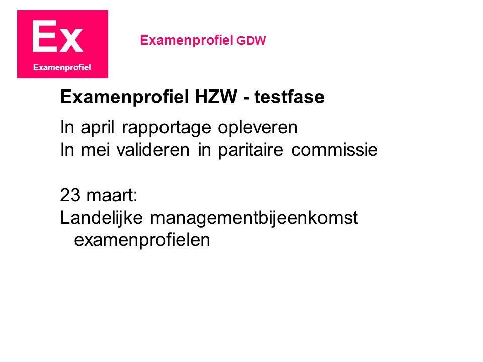 Ex Examenprofiel In april rapportage opleveren In mei valideren in paritaire commissie 23 maart: Landelijke managementbijeenkomst examenprofielen Exam
