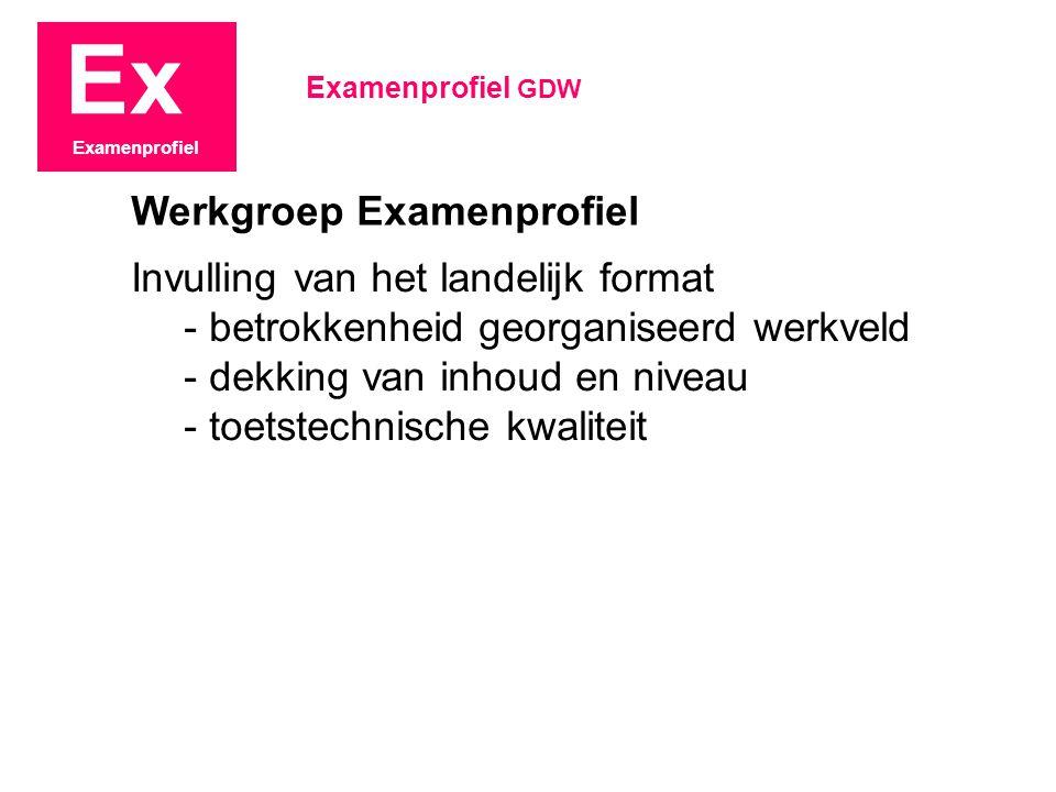 Ex Examenprofiel Invulling van het landelijk format - betrokkenheid georganiseerd werkveld - dekking van inhoud en niveau - toetstechnische kwaliteit Examenprofiel GDW Werkgroep Examenprofiel