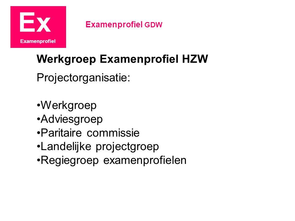 Ex Examenprofiel Projectorganisatie: Werkgroep Adviesgroep Paritaire commissie Landelijke projectgroep Regiegroep examenprofielen Examenprofiel GDW We