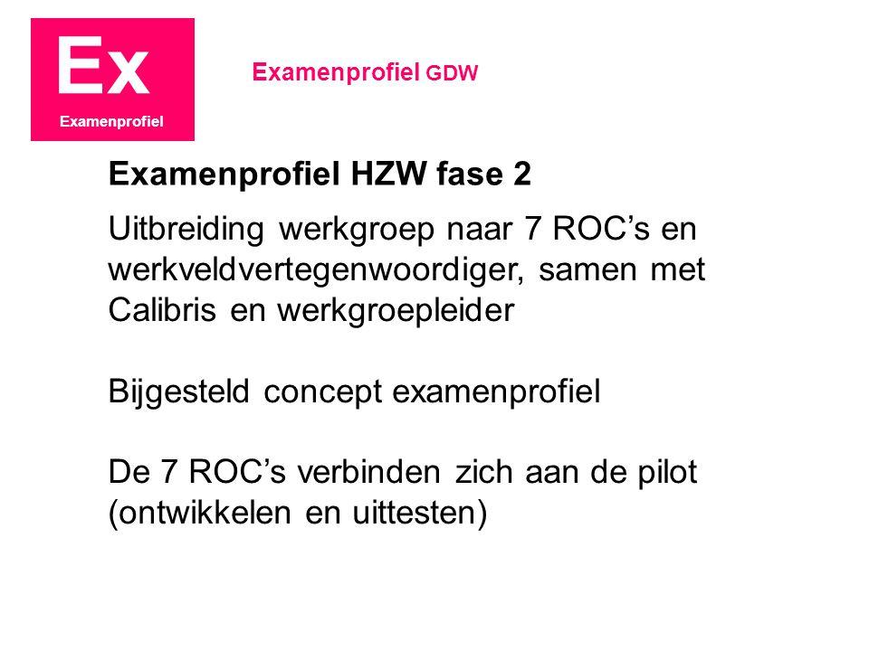 Ex Examenprofiel Uitbreiding werkgroep naar 7 ROC's en werkveldvertegenwoordiger, samen met Calibris en werkgroepleider Bijgesteld concept examenprofiel De 7 ROC's verbinden zich aan de pilot (ontwikkelen en uittesten) Examenprofiel GDW Examenprofiel HZW fase 2